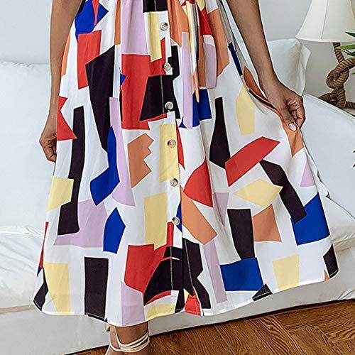 Cordones Primavera vestido Camisetas Mujer Mujer Verano Para Estampado Con Personalizadas Y Cuadrado Vestido Blanco De Felz Bolsillo SPB1n