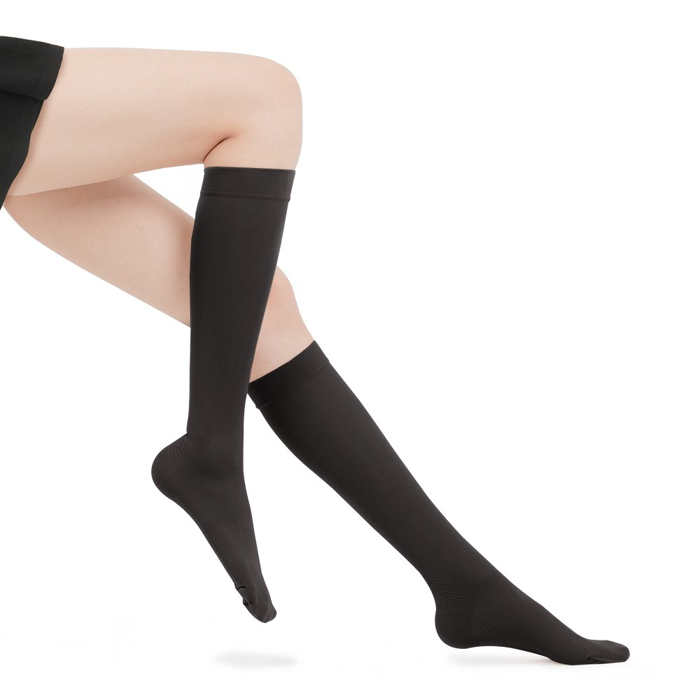 Fytto 1007N Women's Compression Socks, 15-20mmHg Sheer Knee High Hosiery - Graduated Support Hose for Travel, Varicose Veins & Pregnancy, Black, Medium