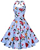 Anni Coco Women's Marilyn Monroe 1950s Vintage Halter Swing Tea Dresses Flower Rose and Bee X-Large