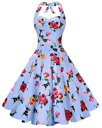 Anni Coco Women's Marilyn Monroe 1950s Vintage Halter Swing Tea Dresses Flower Rose and Bee Medium - Pin Up Girl Costumes 40s