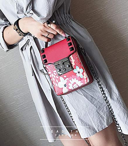 carrés bandoulière Petits Chaînes Red à pour Femmes Sacs à Occasionnels Serrures Sacs Impressions bandoulière A6qawAX