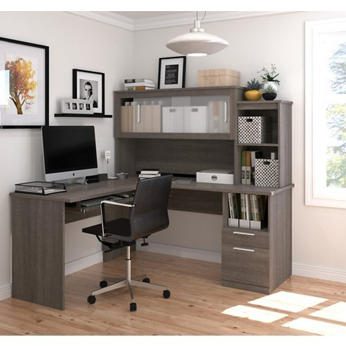Bestar Dayton L-Shaped Desk in Chocolate - Bestar Office Space Corner