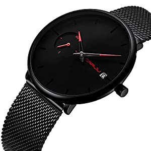 Men's Fashion Minimalist Wrist Watches Quartz Analog Date with Gun Black Milanese Magnetic Closure Stainless Steel Band