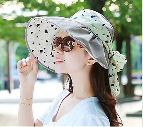 Women's summer sun cap anti ultraviolet Beach Hat folding wide brim cap (Khaki)