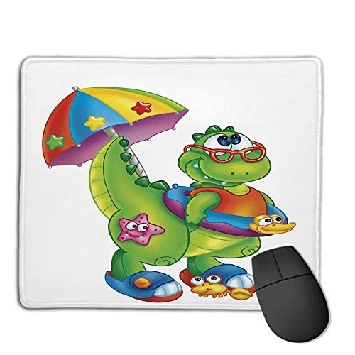 Mouse Pad Custom,Mouse Pad Non-Slip Thick Rubber Large MousepadJurassic Decor,Cute Dinosaur with Colorful Umbrella Glasses Going to Swimming Cartoony,Suitable for Any Mouse Type, Home, Office,H9.8XW
