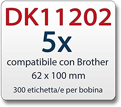 zu Brother DK11202 62 x 100 mm 300 Label 5x Label kompat
