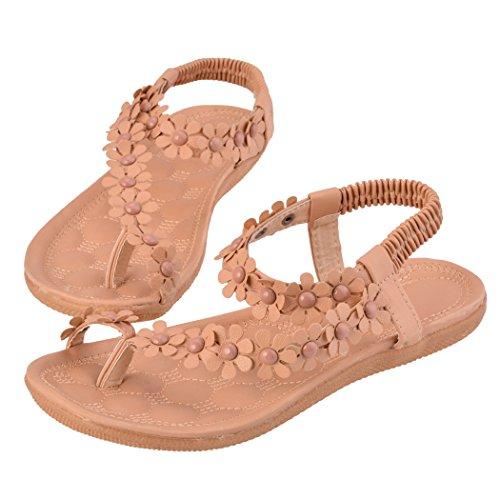 レディースボヘミアサンダルフラワービーズスポーツサンダルフラットシューズスリングバックThong靴