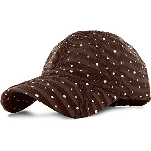 Brown_100% Polyester Glitter Baseball Cap Golf Hat Rhinestone (US Seller)