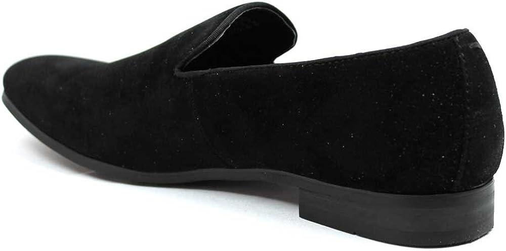 AZAR MAN New Mens Black Suede Slip on Loafers Modern Dress Shoes
