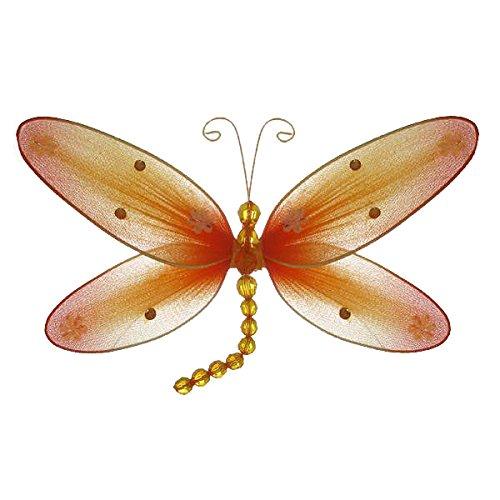 "The Butterfly Grove Taylor Dragonfly Decoration 3D Hanging Mesh Organza Nylon Decor, Orange Creamsicle, Medium, 10""x 6"""