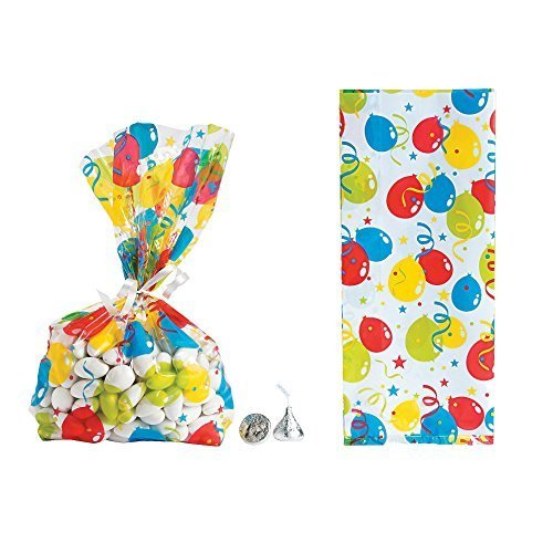 Favor Treat Bags (Bright Balloon Cellophane Party Favor Treat Bags - 24 Pieces)