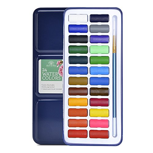 24 Watercolor Paint Set Portable Travel Water Color Paint with Watercolor Brush