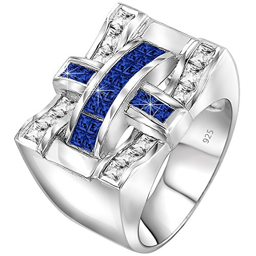 Men's Sterling Silver .925 Criss Cross Ring with 22 Fancy Blue and White Cubic Zirconia (CZ) Channel and Invisible Set Look Stones, Platinum Plated (Mens Invisible Set)