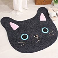 Sytian® New & Cute Cat Face Embroidery Cat Shaped Shaggy Area Rug Nonslip Absorbent Lovely Cat Doormat Floor Mat Bathmat Bathroom Shower Rugs Cute Kitchen Mat Carpet (65*67cm)