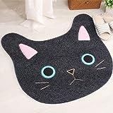 Sytian® New & Cute Cat Face Embroidery Cat Shaped Shaggy Area Rug Nonslip Absorbent Lovely Cat Doormat Floor Mat Bathmat Bathroom Shower Rugs Cute Kitchen Mat Carpet (65*67cm)