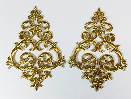 1 Pair Exquisite Flower Gold Lace Vintage Design DIY Applique Embroidered Sew Iron on Patch p#272