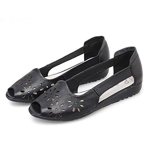 LIXIONG zapatillas Hembra verano Fondo plano De edad mediana Boca de pescado Acogedor Fondo suave Talla grande Antideslizante zapato, Altura del talón 2.5cm, 3 colores -Zapatos de moda ( Color : Azul Negro
