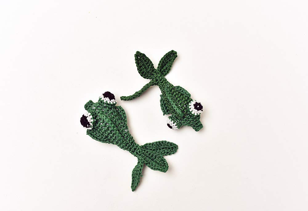 Royal martial arts Crochet Dark Green Fish/Crochet Fish/Knitting Fish 2pcs