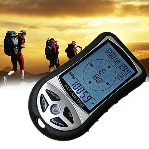 Handheld Digital LCD Display Back 8 in 1 Compass Altimeter Barometer Thermometer Weather Forecast Clock for Hiking - Clock Altimeter Compass