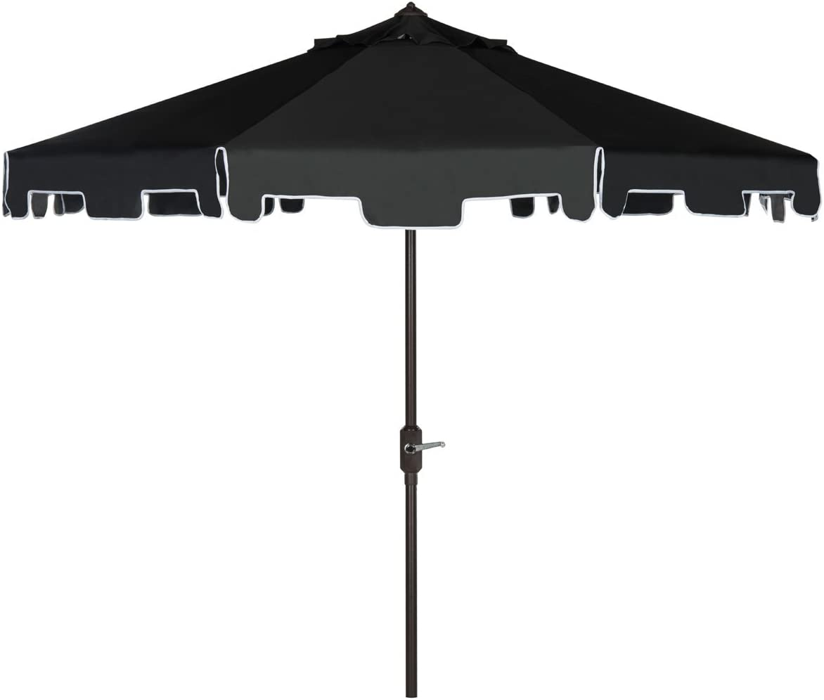 Safavieh Outdoor Collection Zimmerman Crank Market Black and White 9-inch Umbrella