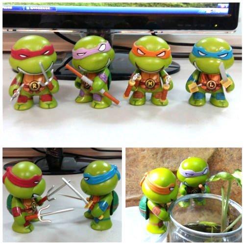4pcs set Teenage Mutant Ninja Turtles Q Version TMNT Action Figures boy Toys