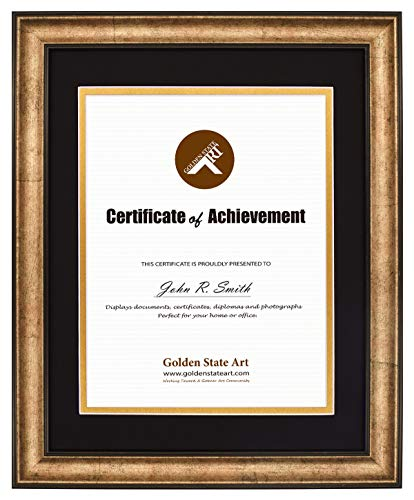 11x14 Vintage Antique Style Gold Frame - Black Over Gold Double Mat for 8.5x11 Documents - Fits Diplomas, Certificates, and More - Wall Mounting - Landscape/Portrait - Black Trim - Real Glass Antique Gold Document Frame