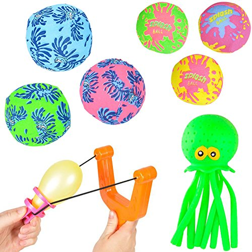 Water Toys for Kids Pool Pack - 8 Piece - Water Bombs and Balloon Slingshot (Swimming Entertainment Pool)