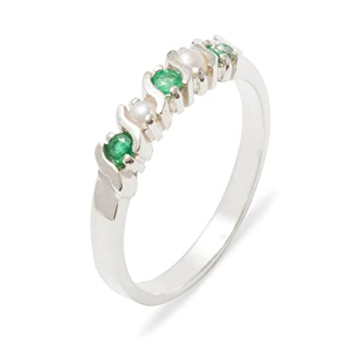 35d201fe2 9ct White Gold Genuine Natural Emerald & Cultured Pearl Womens Eternity Ring  - Size J -