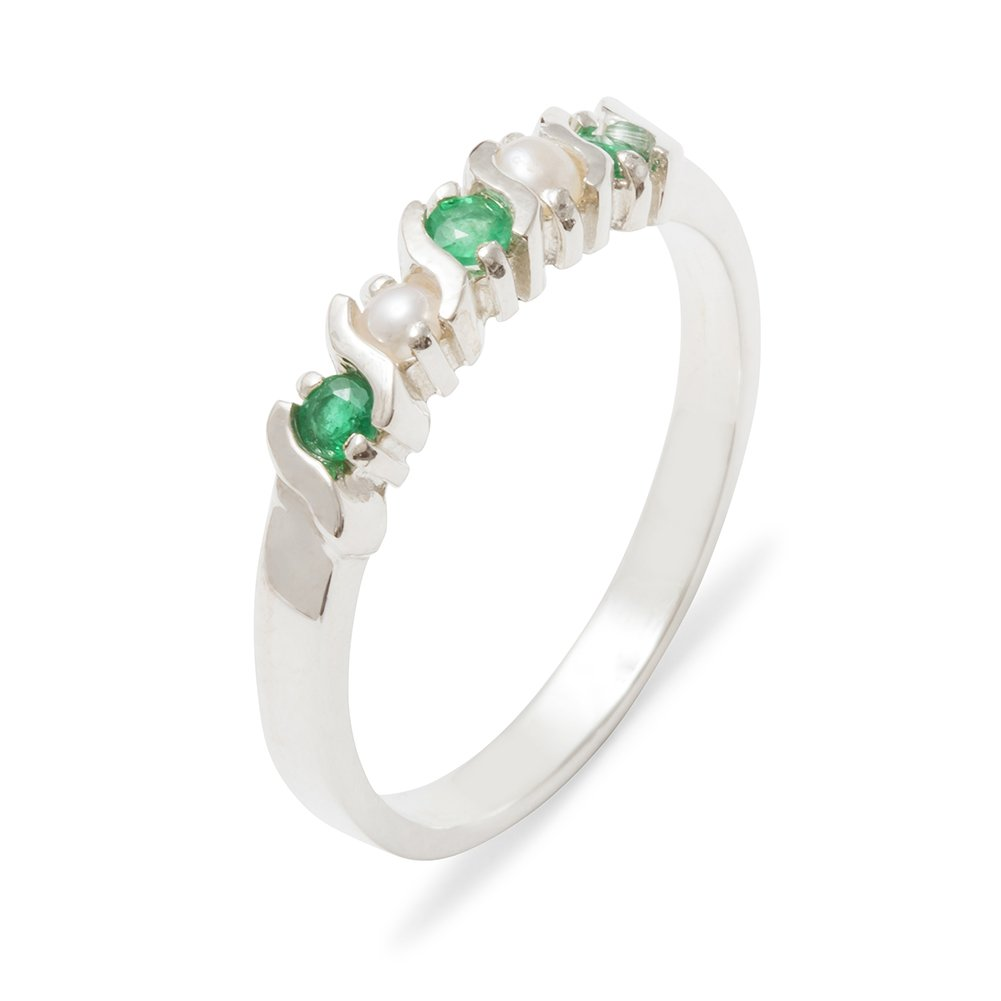 Solid 925 Sterling Silver Natural Emerald & Cultured Pearl Womens Eternity Ring - 10.25 - Size 10.25