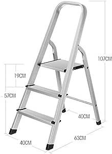 3 Paso Escalera,peso Ligero Antideslizante Escalera Plegable* * Con Protección * Carril De Mano Aluminio Aleación Escaleras De Mano,with Protective Carril De Mano Para Interior Cocina Almacén-a: Amazon.es: Bricolaje y herramientas