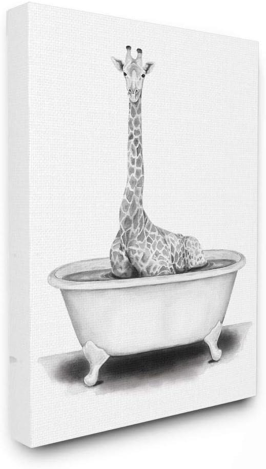 Stupell Industries Giraffe in A Tub Funny Animal Bathroom Drawing, Design by Rachel Neiman Wall Art, 16 x 20, Canvas