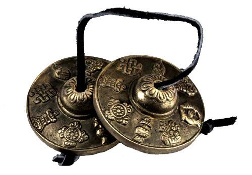 Tibetan Eight Auspicious Signs Tingsha Bell with Satin Case (Color Might Vary From the Picture), 2.75 Inches, and a Free Buddha Eyes Magenet,