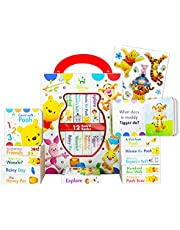 Disney Baby Winnie The Pooh Board Books Set Toddlers Babies Bundle ~ Pack of 12 Chunky My First Library Board Book Block with Stickers (Winnie The Pooh Books for Infants)