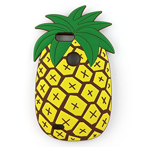 ZTE Blade Z Max Case, ZTE Sequoia Case, 3D Cute Cartoon Vivid Summer Fruit Pineapple Soft Silicone Rubber Protector Skin Cover for ZTE Blade ZMax Pro 2 Z982 (2017 Edition) (Yellow) ()