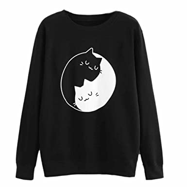 LILICAT Women Girls Sweatshirt Women s Cat Printing Black with White Cat  Print Long Sleeve Hoodie Sweatshirt Hooded Pullover Tops Blouse Cute for Teen  Girls ... cf98404fd