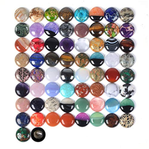 (Wholesale Lot 24pcs Multi-color 25mm Gemstone Round Cab Cabochon For Jewelry)