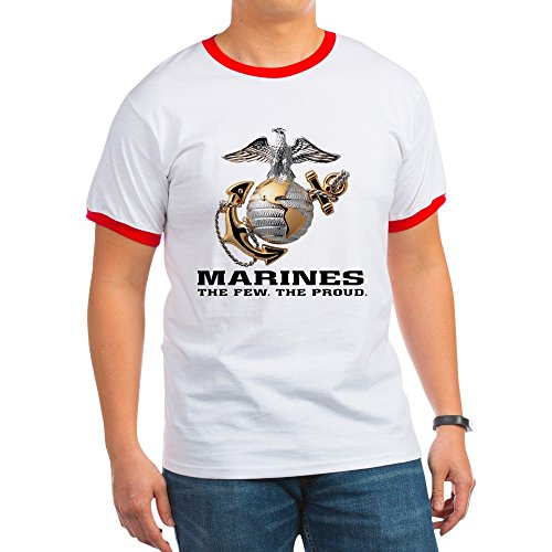 (Royal Lion Ringer T-Shirt Marines The Few The Proud - Red/White,)