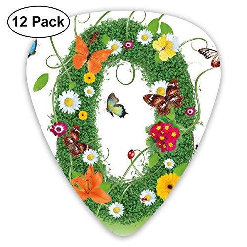 Guitar Picks 12-Pack,Spring Season Alphabet With Grass Daisy Butterflies Ladybugs Greenland Florets