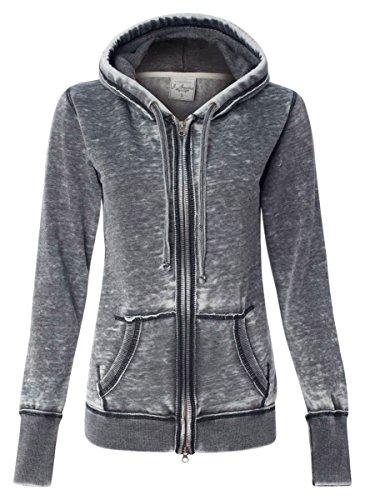 - J.America Ladies' Zen Full-Zip Hooded Fleece, Dark Smoke, Medium