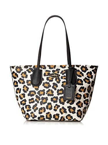 Coach Ocelot Print Leather Taxi Zip Tote - White/Multicolor