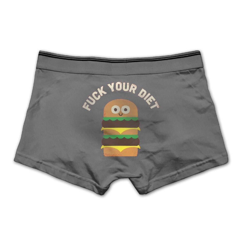 Mens FCK Your Diet Underwear Cotton Boxer Briefs Stretch Low Rise Trunks Ash
