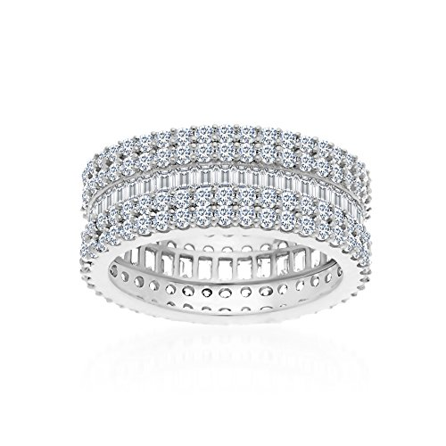 - MIA SARINE Cubic Zirconia Double Pave Border and Baguette Center Eternity Band in Rhodium over Sterling Silver Size 7