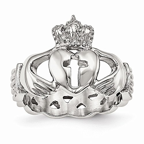 (Wedding Bands Celtic Bands Stainless Steel Polished Claddagh with Cross Ring Size 11)