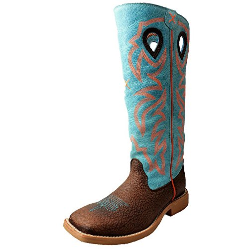 - Twisted X Youth Unisex Blue Leather Embroidered Buckaroo Cowboy Boots 3M