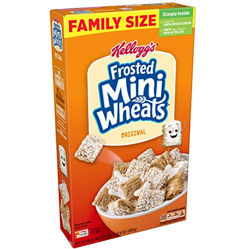 (Kellogg's Breakfast Cereal, Frosted Mini-Wheats, Original, Low Fat, Excellent Source of Fiber, Family Size, 24 oz Box)