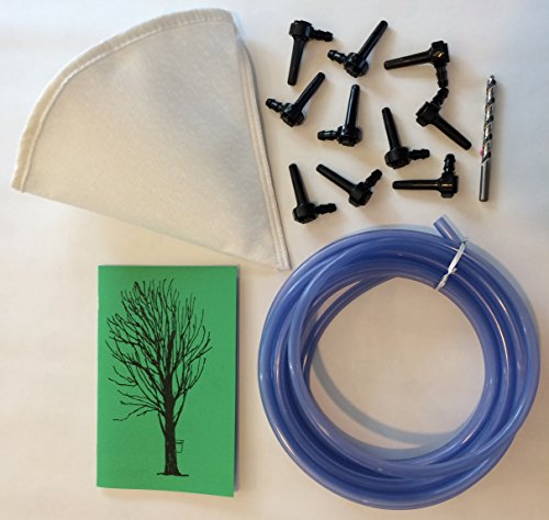 Deluxe Maple Syrup Tapping Kit. 10 Tree Taps, 25ft Tubing, Maple Drill Bit, Filter, Guide (Deluxe Maple)