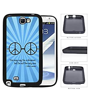 Dreamer John Lennon Quote with Peace Hippie Sunglasses (Blue Swirls) Samsung Galaxy Note II 2 N7100 Rubber Silicone TPU Cell Phone Case