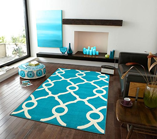 Modern Rugs Moroccan Trellis Area Rug 8x10 Carpet Sky Blue with Ivory Lines, 8x11