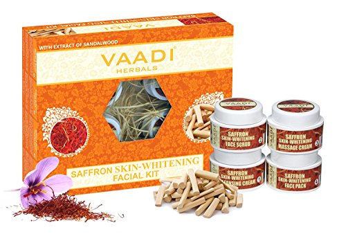 Vaadi Herbals Facial Kit - Saffron-Sandal Facial Kit With Sandalwood Oil, Lemongrass, Orange Peel & Shea Butter - All Natural - Suitable For All Skin Types And Both For Men And Women - 70 Grams -