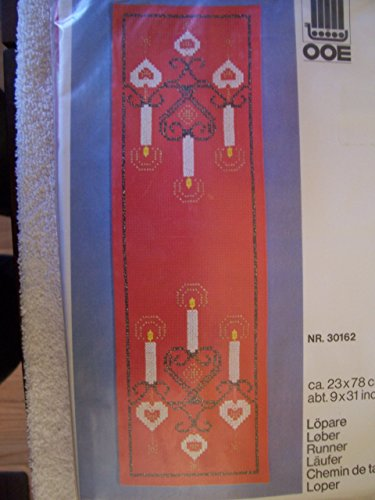 Denmark Candle - Candles On Red Table Runner Counted Cross Stitch Kit